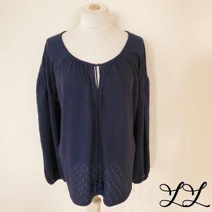 Caslon Top Blouse Shirt Navy Blue Cotton Boho